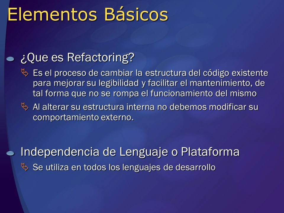 Ejemplo – renombrar método Después de Refactorizar: Antes de Refactorizar: double calcRngMaxPer() {....