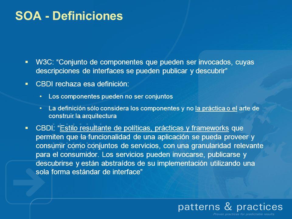 SOA - Definiciones W3C: Conjunto de componentes que pueden ser invocados, cuyas descripciones de interfaces se pueden publicar y descubrir CBDI rechaz