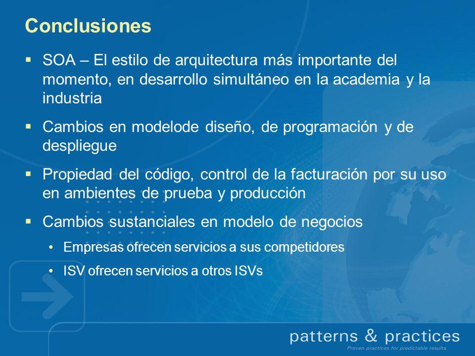 Conclusiones SOA – El estilo de arquitectura más importante del momento, en desarrollo simultáneo en la academia y la industria Cambios en modelode di