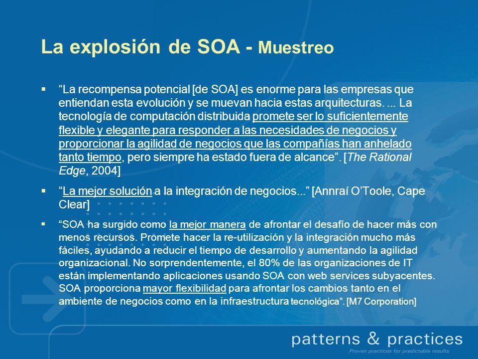 La explosión de SOA - Muestreo La recompensa potencial [de SOA] es enorme para las empresas que entiendan esta evolución y se muevan hacia estas arqui