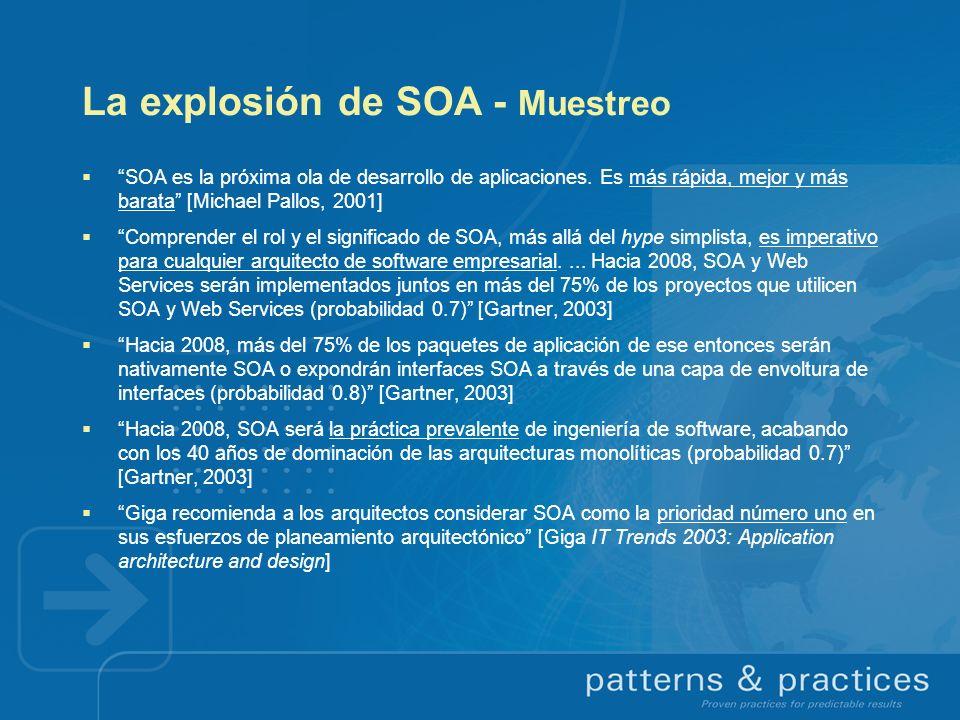 La explosión de SOA - Muestreo SOA es la próxima ola de desarrollo de aplicaciones. Es más rápida, mejor y más barata [Michael Pallos, 2001] Comprende