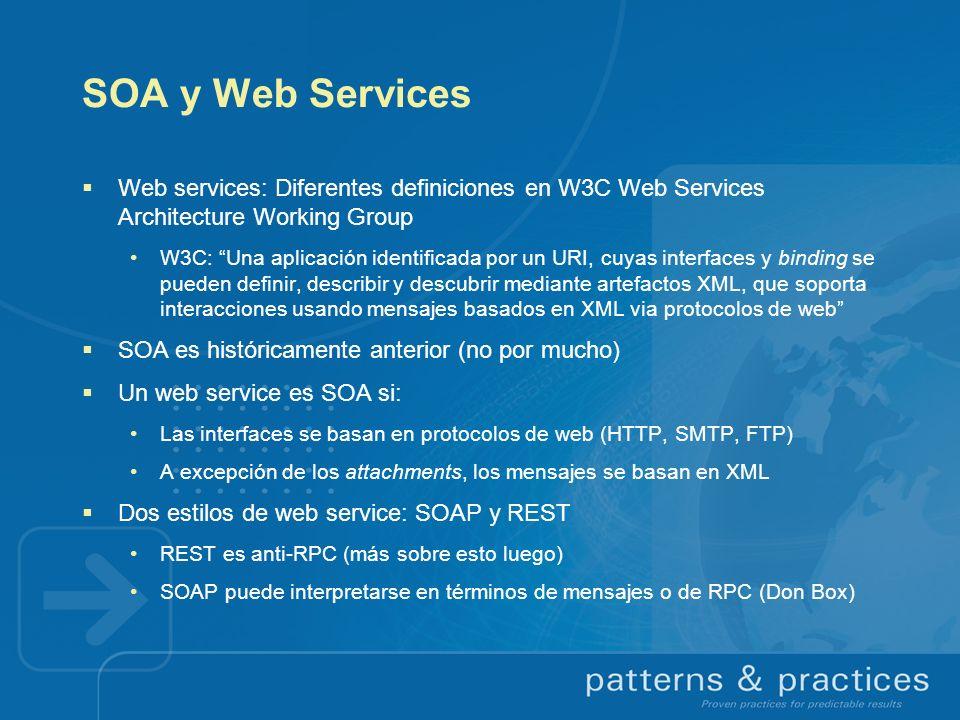 SOA y Web Services Web services: Diferentes definiciones en W3C Web Services Architecture Working Group W3C: Una aplicación identificada por un URI, c