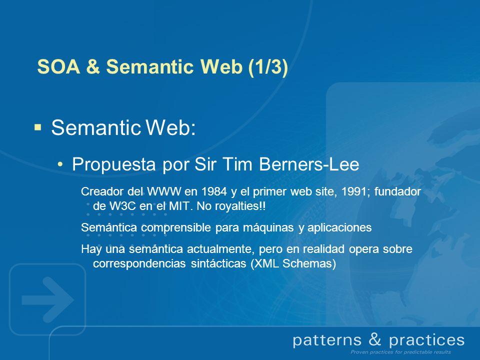 SOA & Semantic Web (1/3) Semantic Web: Propuesta por Sir Tim Berners-Lee Creador del WWW en 1984 y el primer web site, 1991; fundador de W3C en el MIT