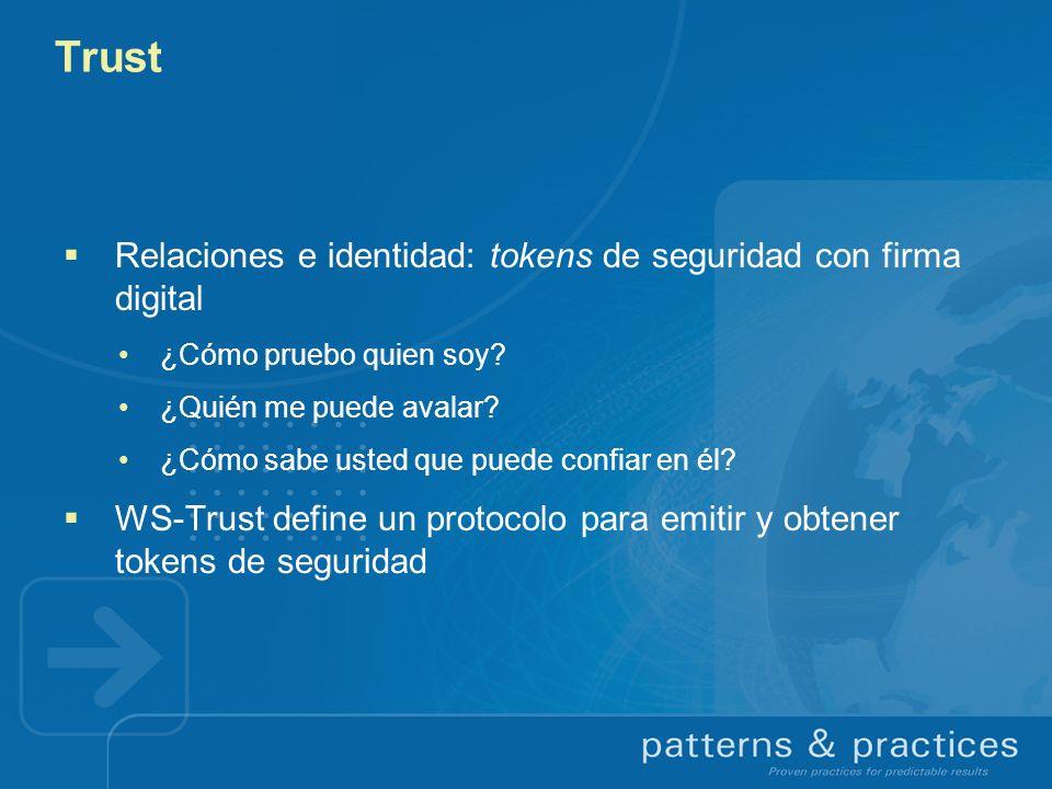 Trust Relaciones e identidad: tokens de seguridad con firma digital ¿Cómo pruebo quien soy? ¿Quién me puede avalar? ¿Cómo sabe usted que puede confiar