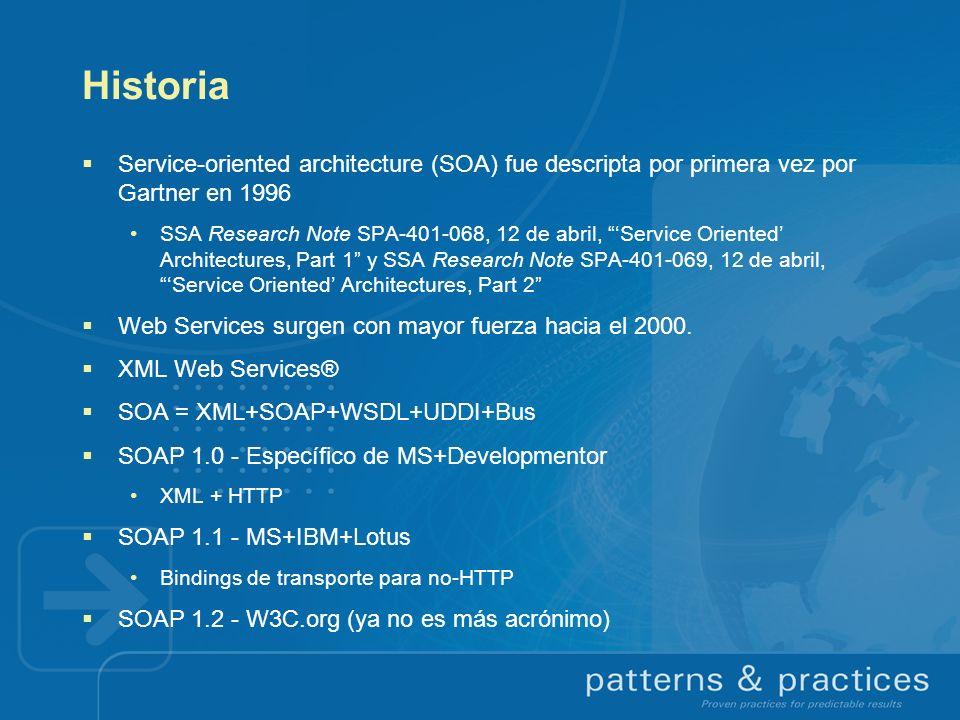 SOA y Web Services Web services: Diferentes definiciones en W3C Web Services Architecture Working Group W3C: Una aplicación identificada por un URI, cuyas interfaces y binding se pueden definir, describir y descubrir mediante artefactos XML, que soporta interacciones usando mensajes basados en XML via protocolos de web SOA es históricamente anterior (no por mucho) Un web service es SOA si: Las interfaces se basan en protocolos de web (HTTP, SMTP, FTP) A excepción de los attachments, los mensajes se basan en XML Dos estilos de web service: SOAP y REST REST es anti-RPC (más sobre esto luego) SOAP puede interpretarse en términos de mensajes o de RPC (Don Box)