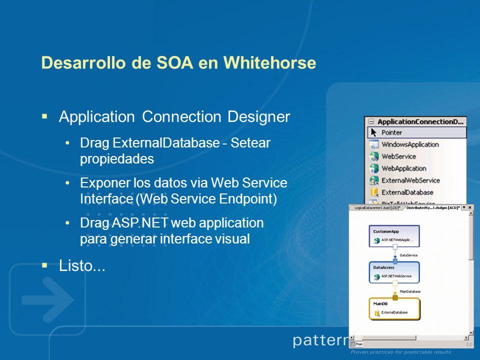 Desarrollo de SOA en Whitehorse Application Connection Designer Drag ExternalDatabase - Setear propiedades Exponer los datos via Web Service Interface