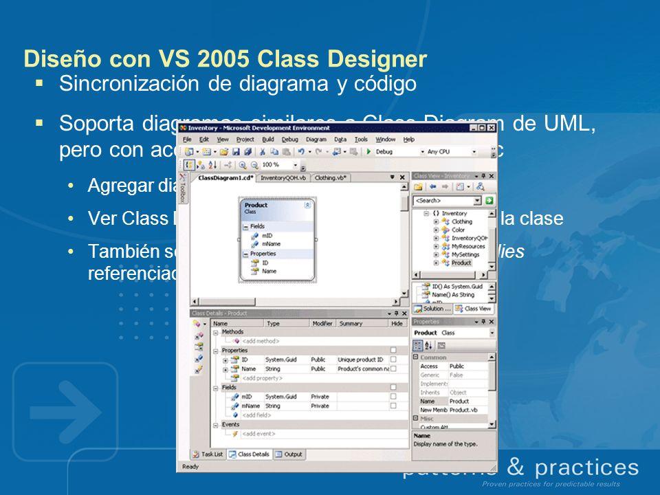 Diseño con VS 2005 Class Designer Sincronización de diagrama y código Soporta diagramas similares a Class Diagram de UML, pero con acceso a métodos, p