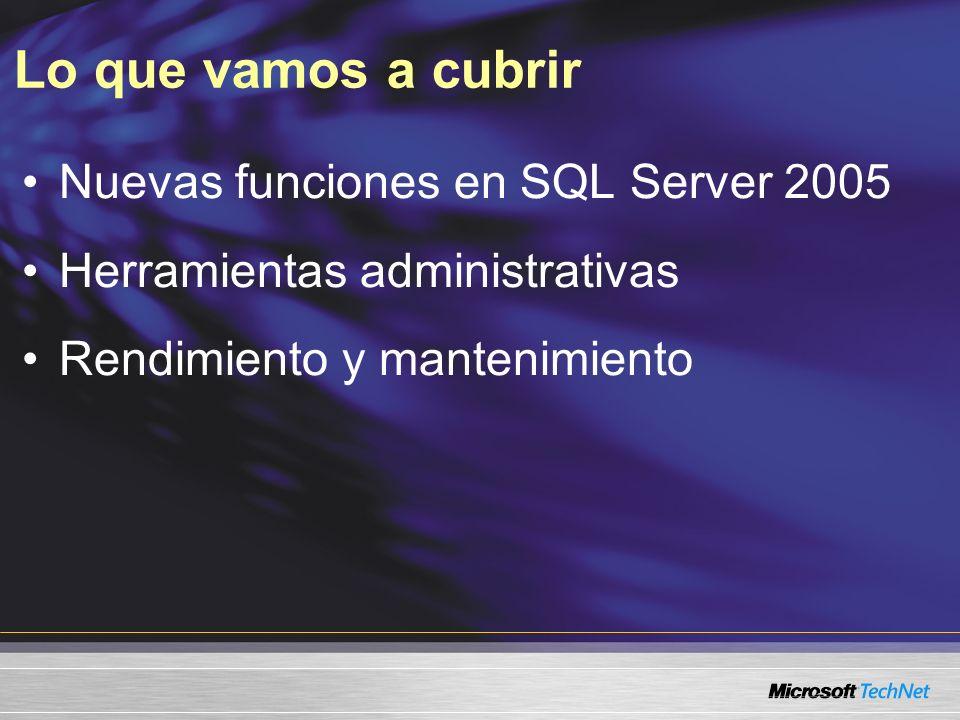 Experiencia útil Nivel 200 Experiencia en administrar y mantener SQL Server Experiencia en administrar bases de datos