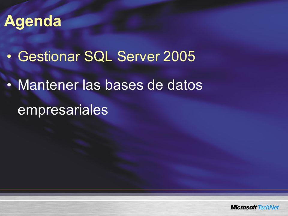 SQL Server Management Studio Simplifica las tareas comunes de administración Interfaz integrada de gestión Transparencia del servidor Capacidad de ampliación del Objeto de administración de SQL