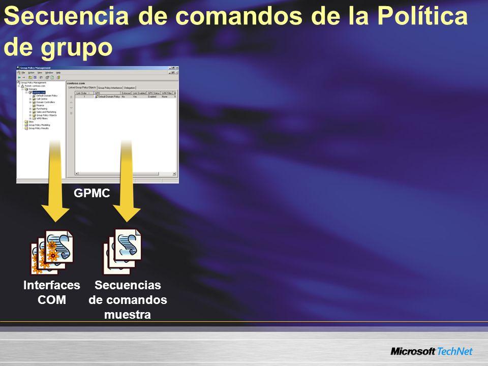 Secuencia de comandos de la Política de grupo GPMC Interfaces COM Secuencias de comandos muestra