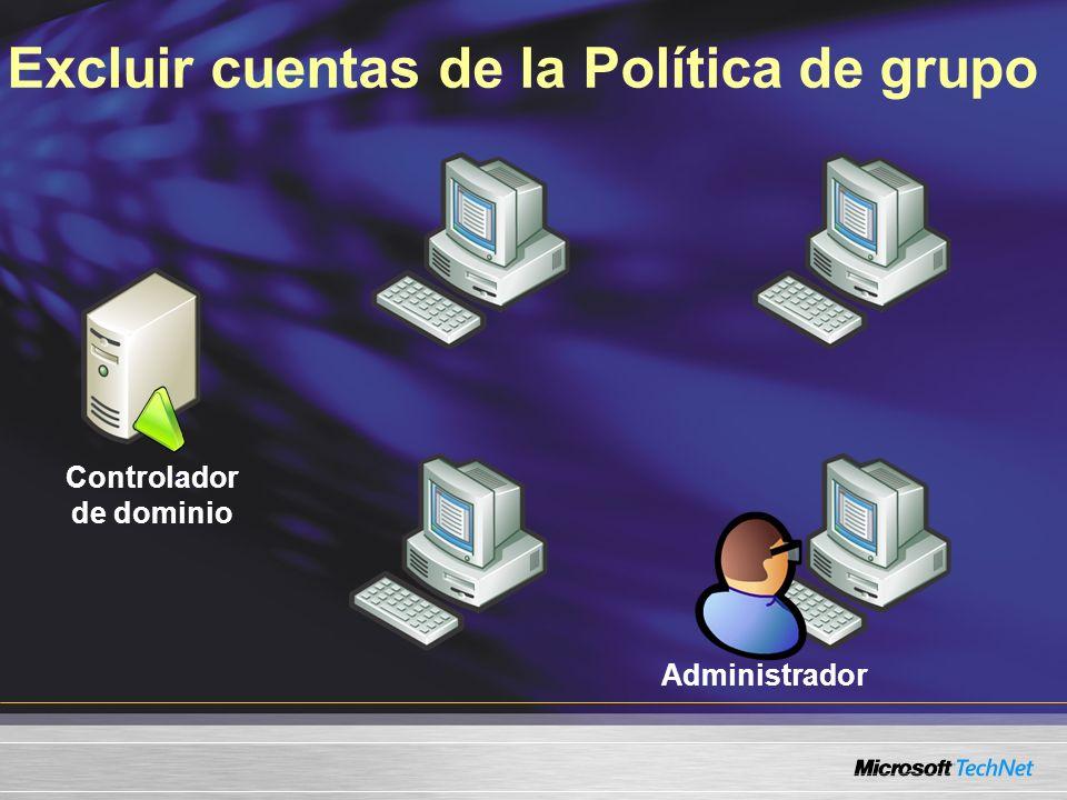 Excluir cuentas de la Política de grupo Controlador de dominio Administrador