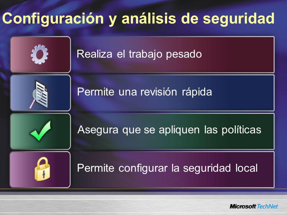 Configuración y análisis de seguridad Realiza el trabajo pesado Permite una revisión rápida Asegura que se apliquen las políticas Permite configurar la seguridad local