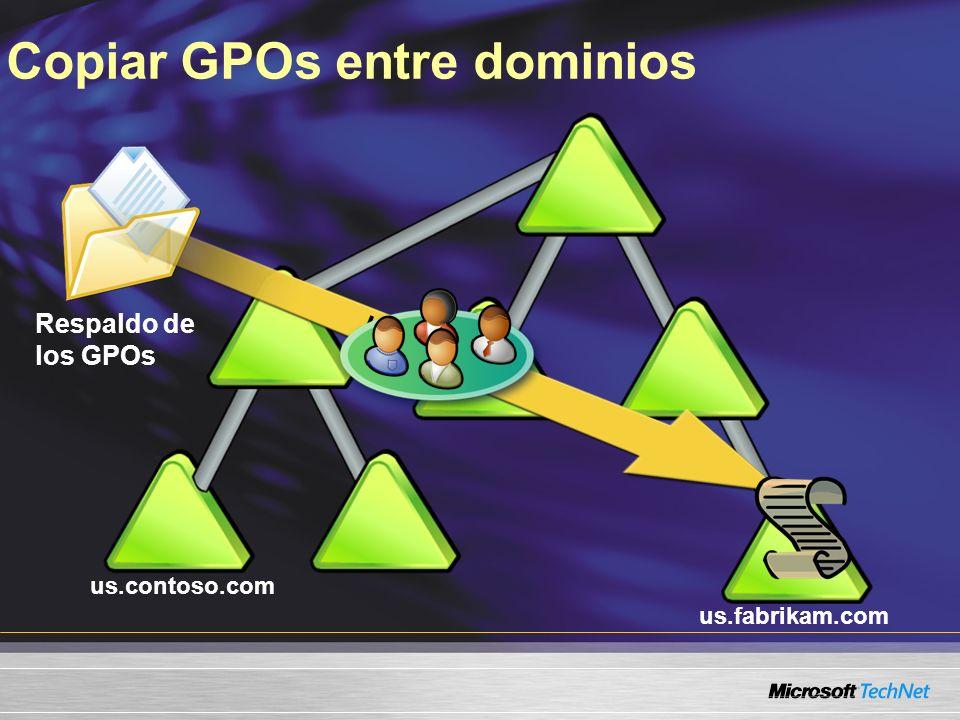 us.contoso.com us.fabrikam.com Respaldo de los GPOs Copiar GPOs entre dominios Importar GPO