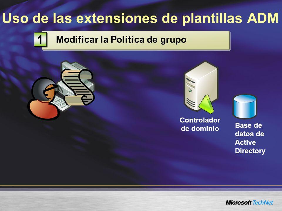 Uso de las extensiones de plantillas ADM Controlador de dominio Base de datos de Active Directory Modificar la Política de grupo 1 1
