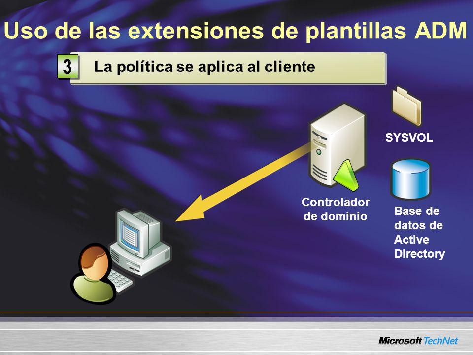 Uso de las extensiones de plantillas ADM Controlador de dominio Base de datos de Active Directory SYSVOL Modificar la Política de grupo 1 1 Almacenada en el controlador de dominio 2 2 La política se aplica al cliente 3 3