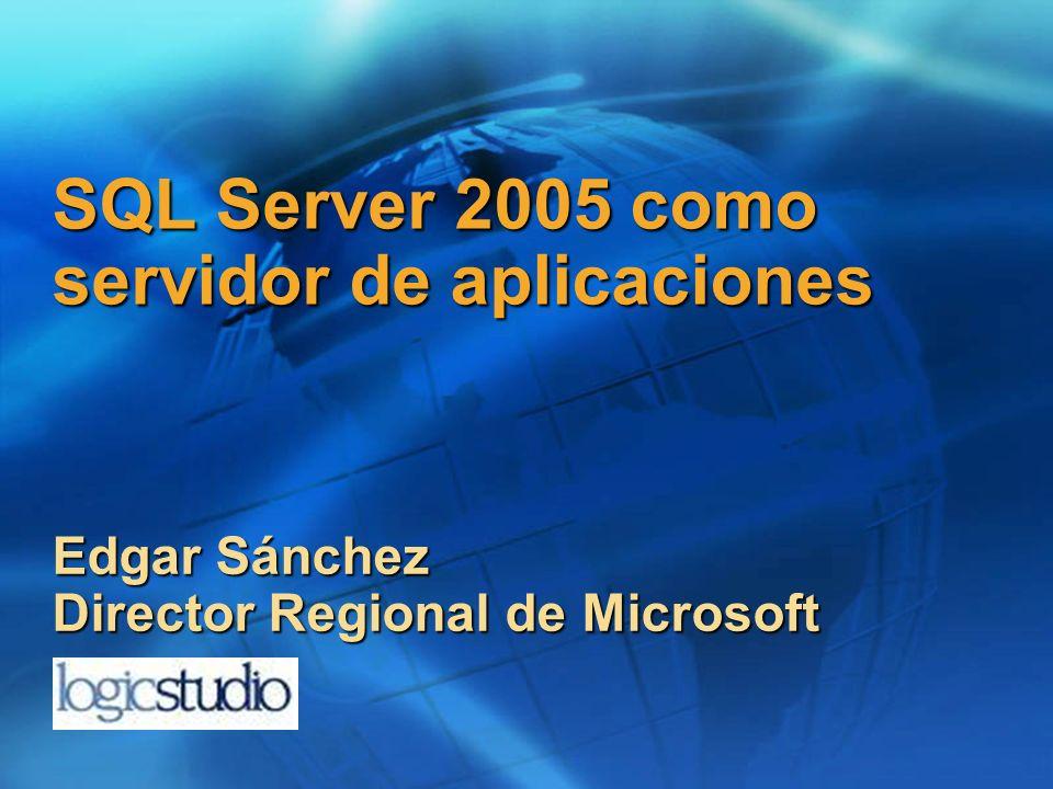 SQL Server 2005 como servidor de aplicaciones Edgar Sánchez Director Regional de Microsoft