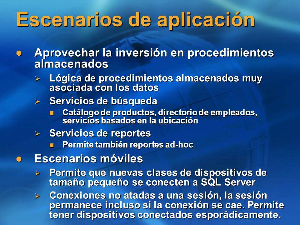 Escenarios de aplicación Aprovechar la inversión en procedimientos almacenados Aprovechar la inversión en procedimientos almacenados Lógica de procedi