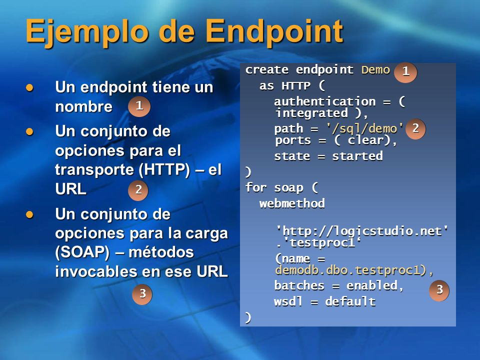 Ejemplo de Endpoint Un endpoint tiene un nombre Un endpoint tiene un nombre Un conjunto de opciones para el transporte (HTTP) – el URL Un conjunto de opciones para el transporte (HTTP) – el URL Un conjunto de opciones para la carga (SOAP) – métodos invocables en ese URL Un conjunto de opciones para la carga (SOAP) – métodos invocables en ese URL create endpoint Demo as HTTP ( as HTTP ( authentication = ( integrated ), authentication = ( integrated ), path = /sql/demo , ports = ( clear), path = /sql/demo , ports = ( clear), state = started state = started) for soap ( webmethod webmethod http://logicstudio.net . testproc1 http://logicstudio.net . testproc1 (name = demodb.dbo.testproc1), (name = demodb.dbo.testproc1), batches = enabled, batches = enabled, wsdl = default wsdl = default) 33 22 11 11 22 33