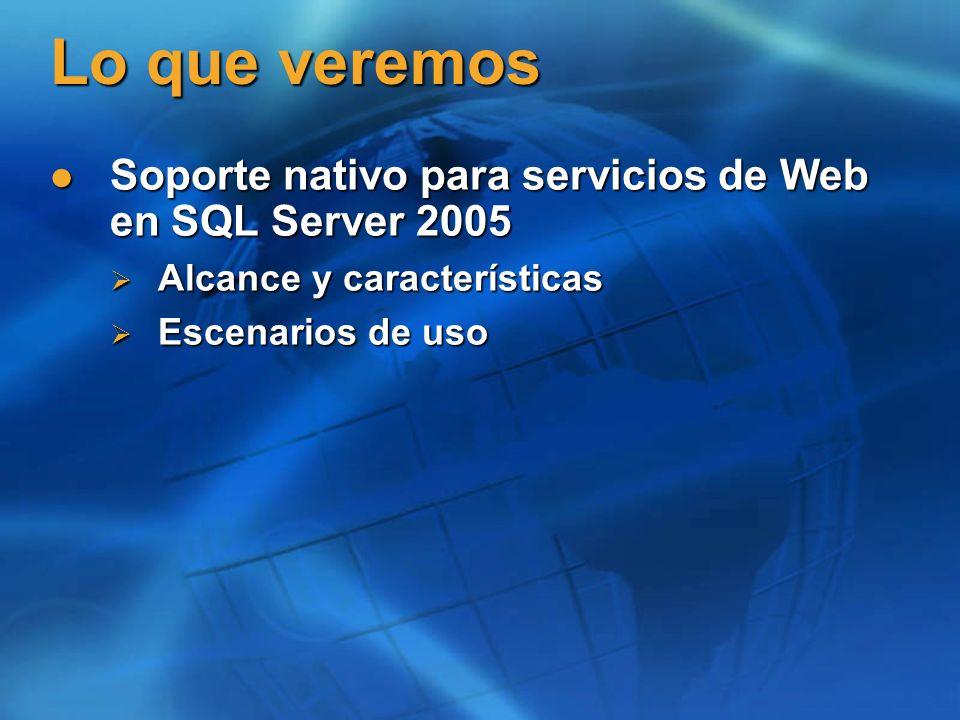 Lo que veremos Soporte nativo para servicios de Web en SQL Server 2005 Soporte nativo para servicios de Web en SQL Server 2005 Alcance y características Alcance y características Escenarios de uso Escenarios de uso