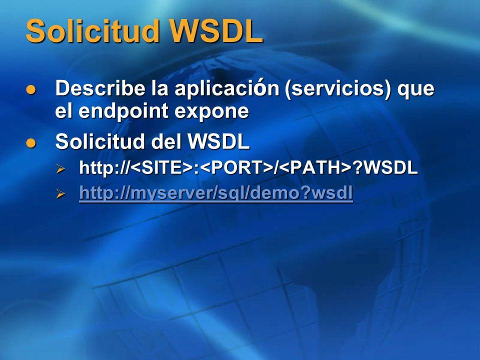Solicitud WSDL Describe la aplicaci ó n (servicios) que el endpoint expone Describe la aplicaci ó n (servicios) que el endpoint expone Solicitud del WSDL Solicitud del WSDL http:// : / WSDL http:// : / WSDL http://myserver/sql/demo wsdl http://myserver/sql/demo wsdl http://myserver/sql/demo wsdl