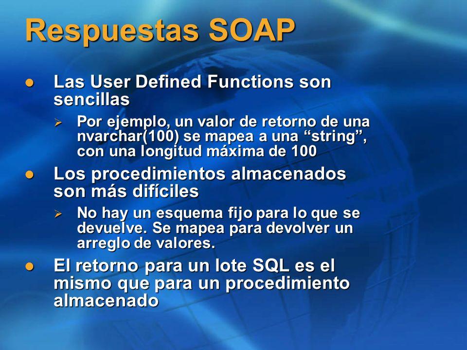 Respuestas SOAP Las User Defined Functions son sencillas Las User Defined Functions son sencillas Por ejemplo, un valor de retorno de una nvarchar(100