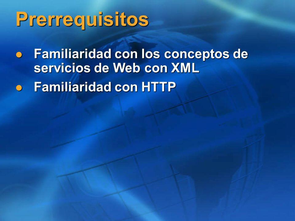 Prerrequisitos Familiaridad con los conceptos de servicios de Web con XML Familiaridad con los conceptos de servicios de Web con XML Familiaridad con