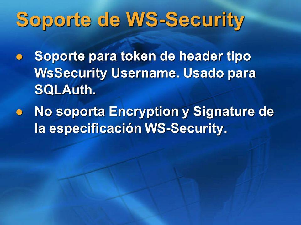 Soporte de WS-Security Soporte para token de header tipo WsSecurity Username. Usado para SQLAuth. Soporte para token de header tipo WsSecurity Usernam