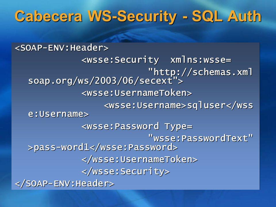 Cabecera WS-Security - SQL Auth <SOAP-ENV:Header> <wsse:Security xmlns:wsse= <wsse:Security xmlns:wsse=