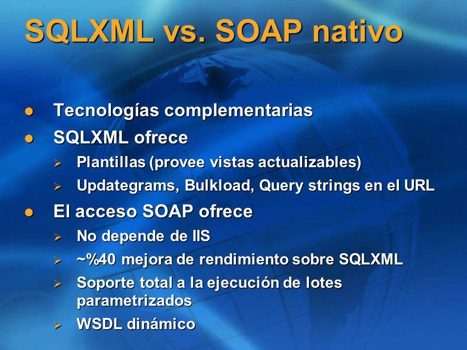 SQLXML vs. SOAP nativo Tecnologías complementarias Tecnologías complementarias SQLXML ofrece SQLXML ofrece Plantillas (provee vistas actualizables) Pl