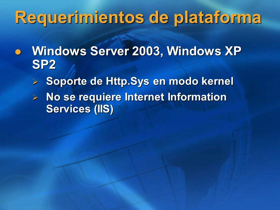 Requerimientos de plataforma Windows Server 2003, Windows XP SP2 Windows Server 2003, Windows XP SP2 Soporte de Http.Sys en modo kernel Soporte de Htt