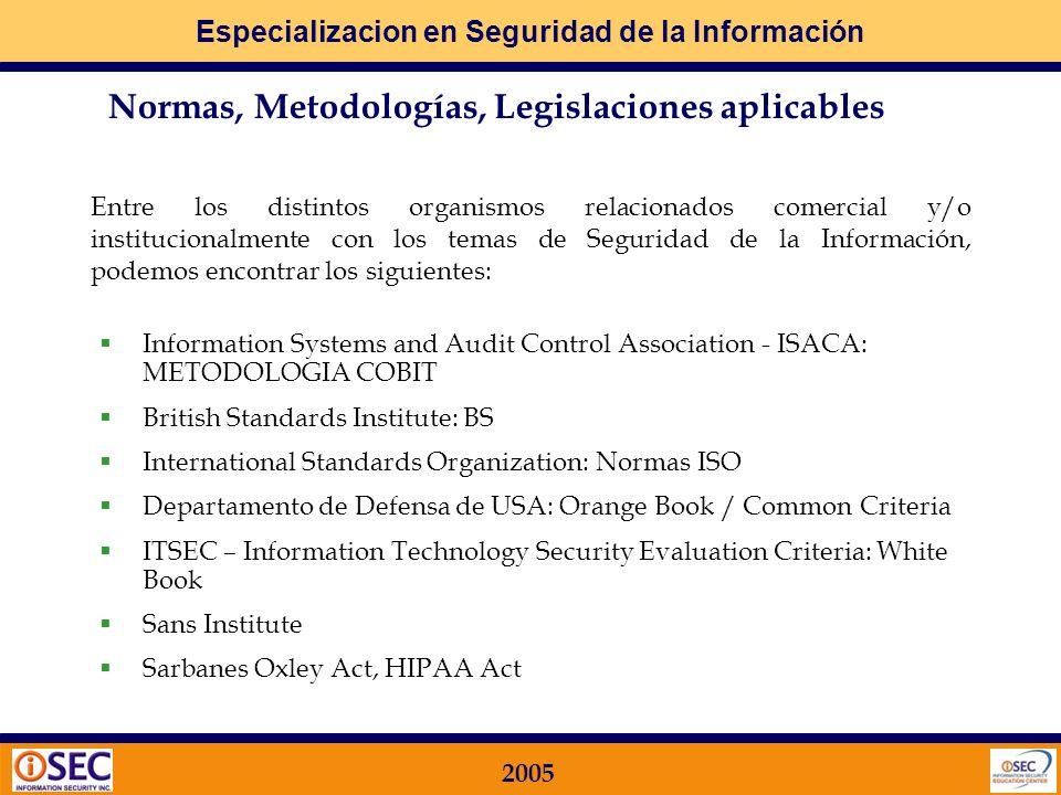 Especializacion en Seguridad de la Información 2005 Paso 2: Si igual voy a hacer algo, porque no lo hago teniendo en cuenta las Normas, Metodologías y