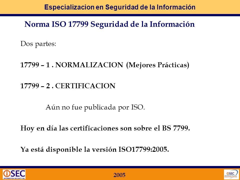 Especializacion en Seguridad de la Información 2005 International Standards Organization: Normas ISO ISO 9001 – Calidad ISO 14001 – Ambiental ISO 1779
