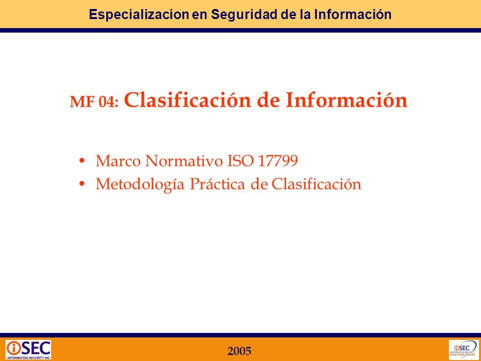 Especializacion en Seguridad de la Información 2005 Sponsoreo y seguimiento Dirección de la Compañía Foro / Comité de Seguridad Autorización Dueño de