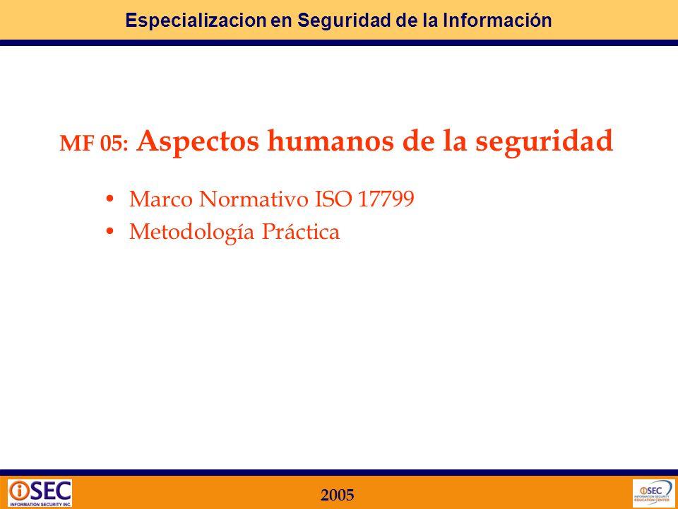 Especializacion en Seguridad de la Información 2005 Etapas 1. Identificación de la información 2. Identificación de los principales riesgos 3. Clasifi