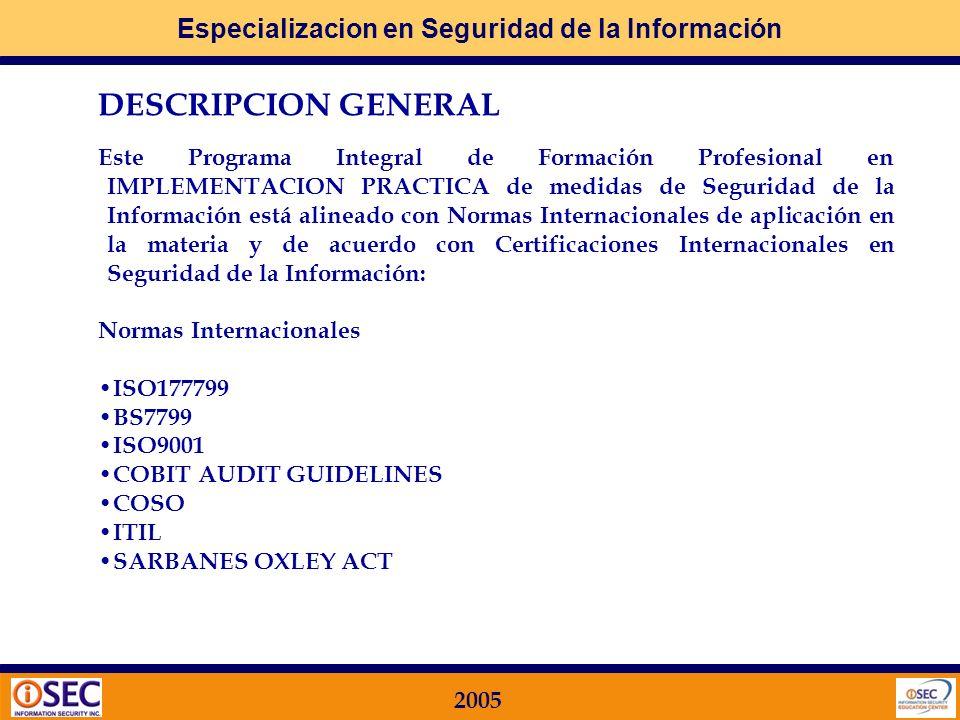Especializacion en Seguridad de la Información 2005 COBIT Control Objectives for Information and Related Technology ISACA Information Systems and Audit Control Association