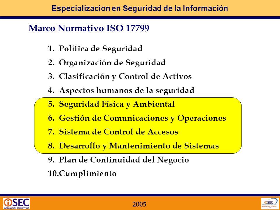 Especializacion en Seguridad de la Información 2005 Para los CONTROLES en los PROCESOS de TI se utilizan ambas fuentes de información: ISO 17799 Segur