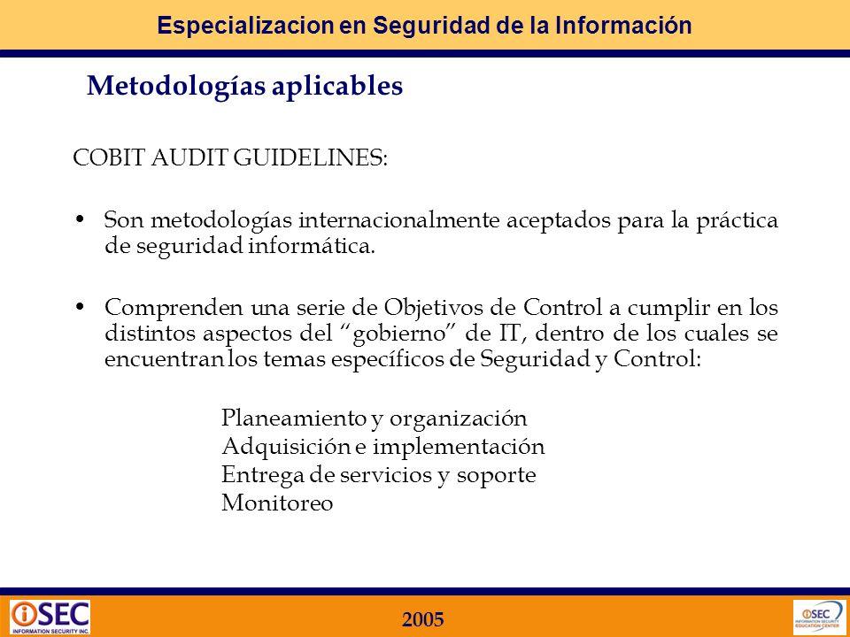 Especializacion en Seguridad de la Información 2005 COBIT Control Objectives for Information and Related Technology ISACA Information Systems and Audi