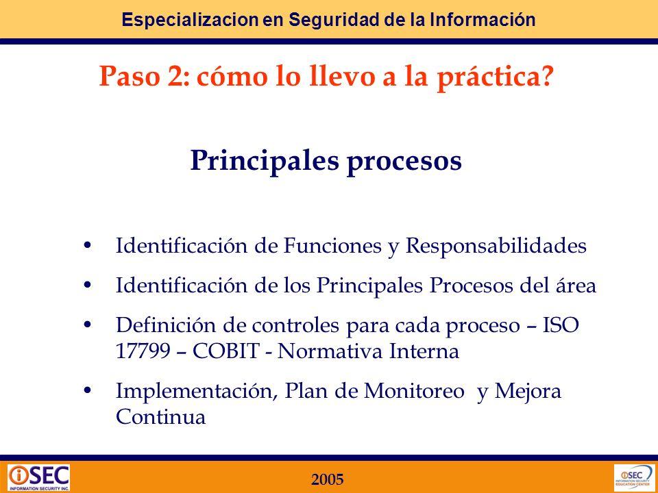 Especializacion en Seguridad de la Información 2005 Metodologías aplicables COBIT AUDIT GUIDELINES: Son metodologías internacionalmente aceptados para