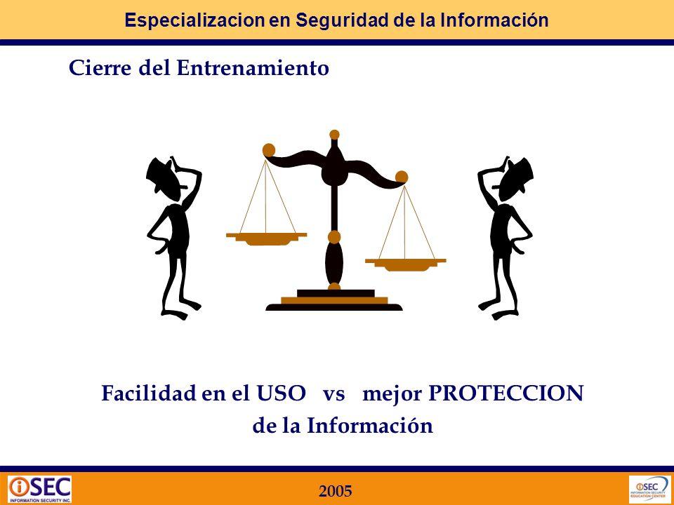 Especializacion en Seguridad de la Información 2005 Paso 2: cómo lo llevo a la práctica? Principales procesos Identificación de Funciones y Responsabi