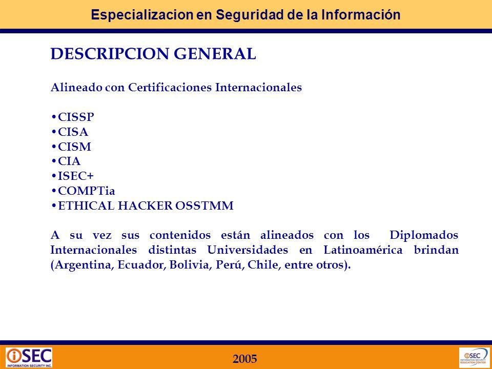 Especializacion en Seguridad de la Información 2005 Alineado con Certificaciones Internacionales CISSP CISA CISM CIA ISEC+ COMPTia ETHICAL HACKER OSSTMM A su vez sus contenidos están alineados con los Diplomados Internacionales distintas Universidades en Latinoamérica brindan (Argentina, Ecuador, Bolivia, Perú, Chile, entre otros).