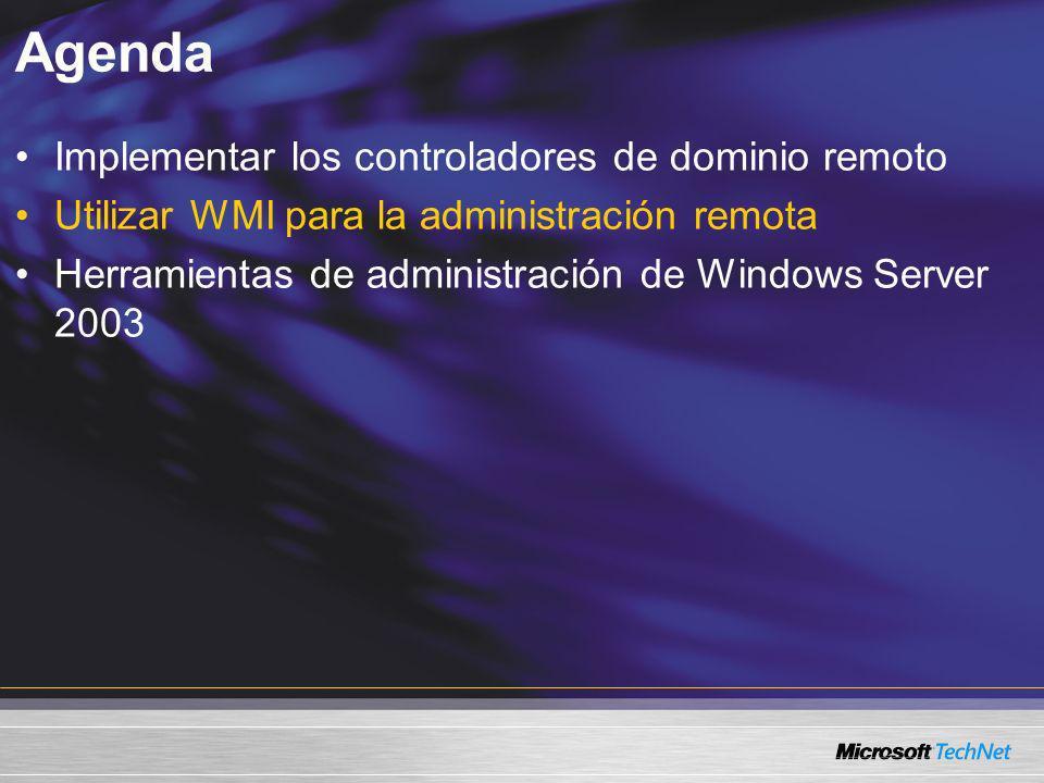 Agenda Implementar los controladores de dominio remoto Utilizar WMI para la administración remota Herramientas de administración de Windows Server 200
