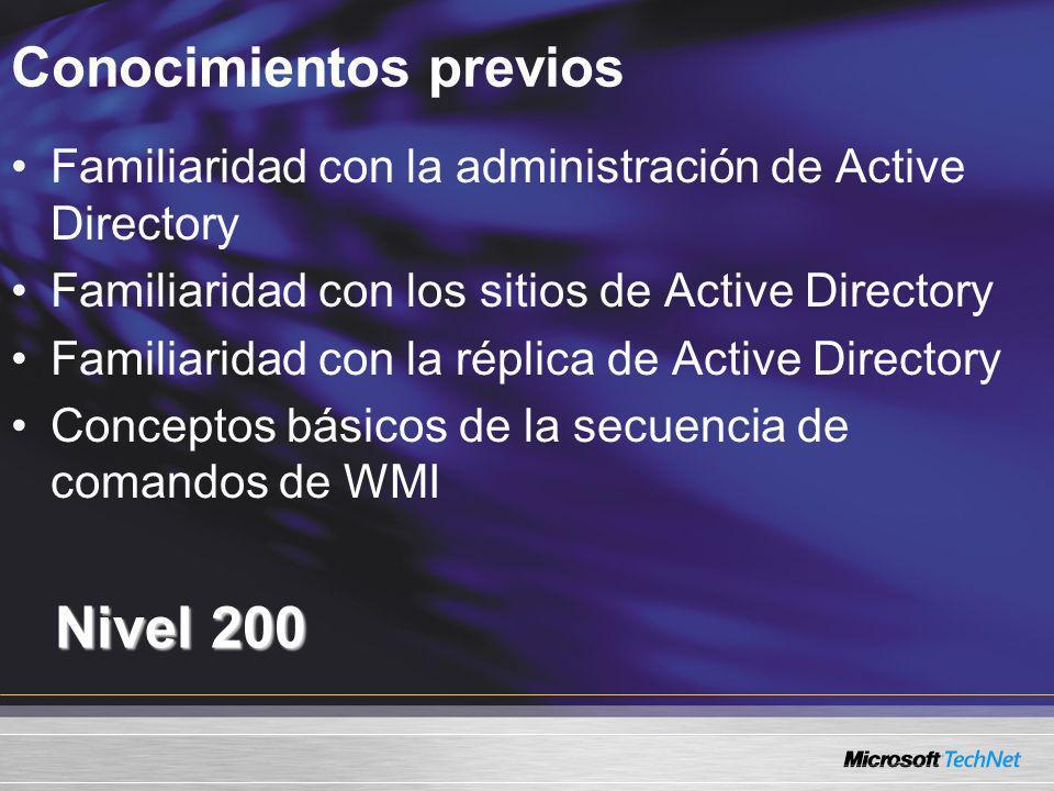 Conocimientos previos Nivel 200 Familiaridad con la administración de Active Directory Familiaridad con los sitios de Active Directory Familiaridad co