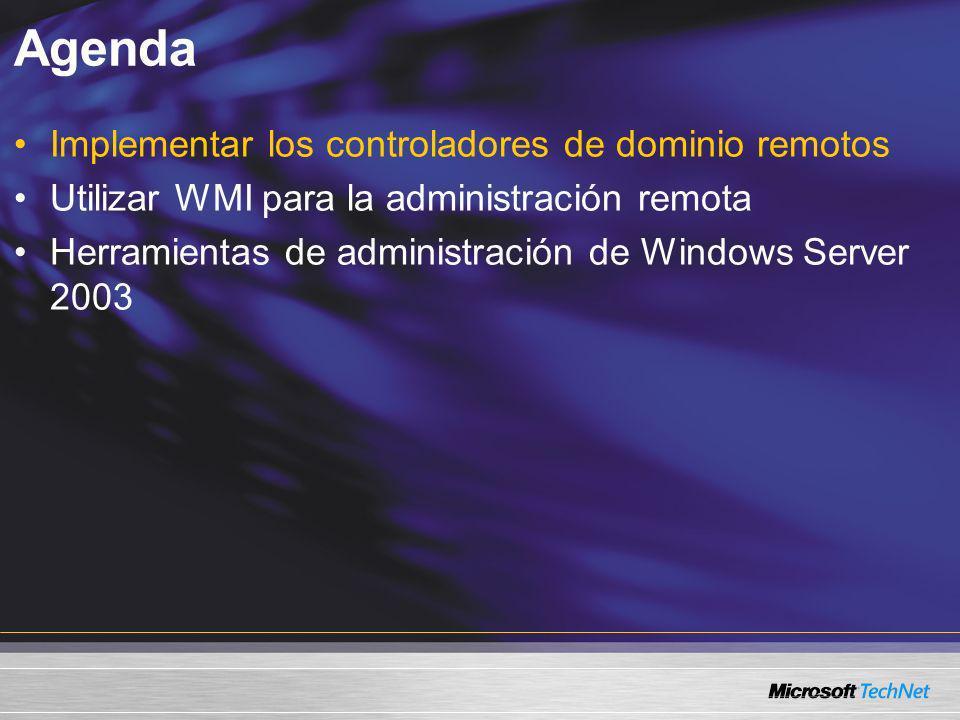 Agenda Implementar los controladores de dominio remotos Utilizar WMI para la administración remota Herramientas de administración de Windows Server 20