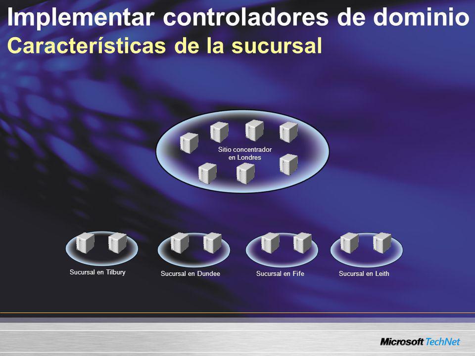 Implementar y configurar un controlador de dominio en una oficina remota Revisar los niveles funcionales del bosque y del dominio Revisar la configuración del sitio Configurar la réplica del controlador del dominio demo