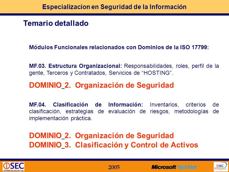 Especializacion en Seguridad de la Información 2005 Módulos Funcionales relacionados con Dominios de la ISO 17799: MF.01. La Seguridad Informática act
