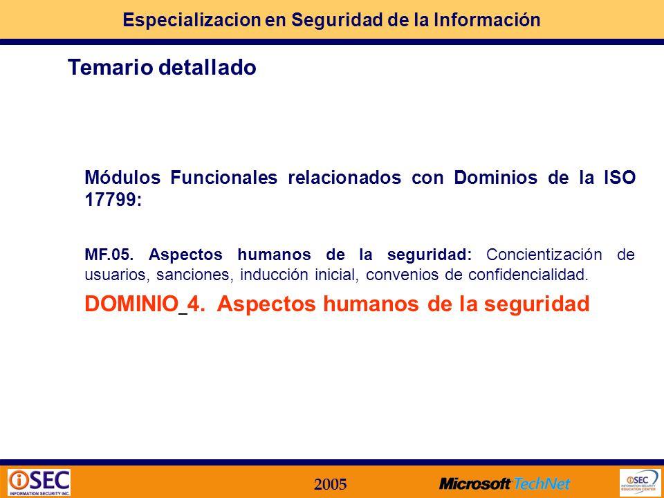 Especializacion en Seguridad de la Información 2005 Módulos Funcionales relacionados con Dominios de la ISO 17799: MF.03. Estructura Organizacional: R