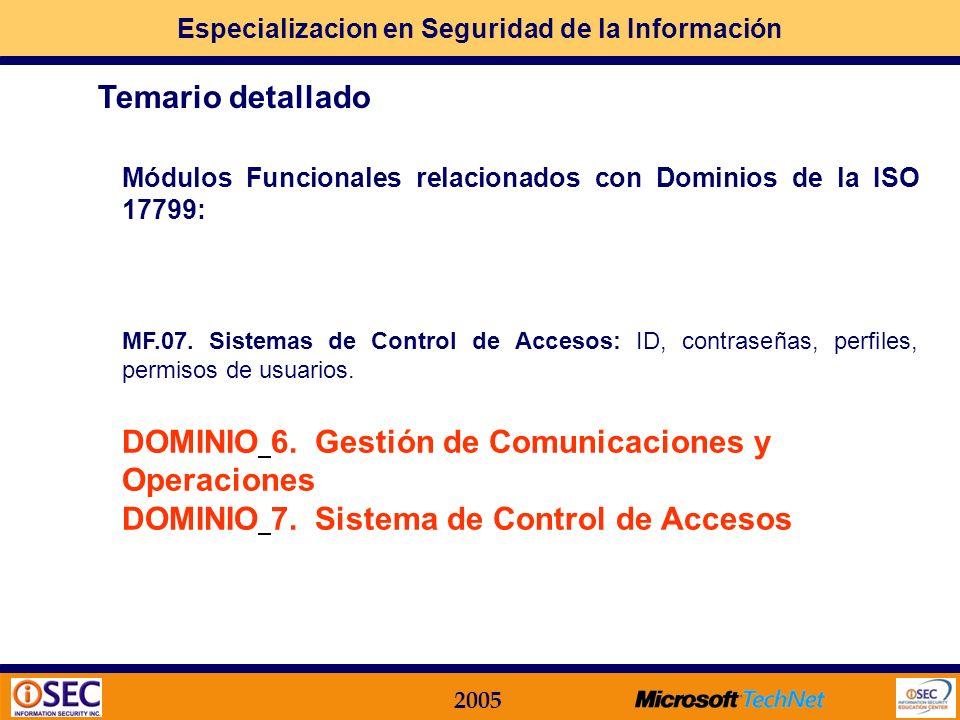 Especializacion en Seguridad de la Información 2005 Módulos Funcionales relacionados con Dominios de la ISO 17799: MF.06. Seguridad en los Procesos In