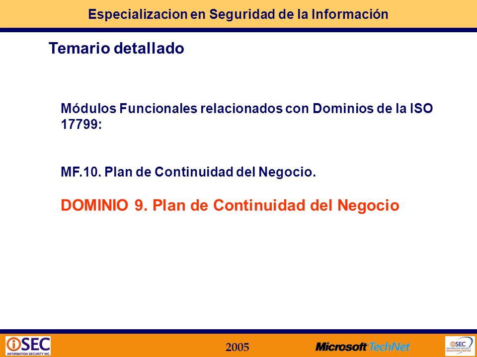 Especializacion en Seguridad de la Información 2005 Módulos Funcionales relacionados con Dominios de la ISO 17799: MF.09.Seguridad en Sistemas Aplicat