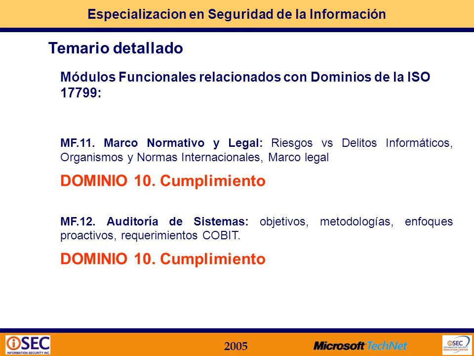 Especializacion en Seguridad de la Información 2005 Módulos Funcionales relacionados con Dominios de la ISO 17799: MF.10. Plan de Continuidad del Nego