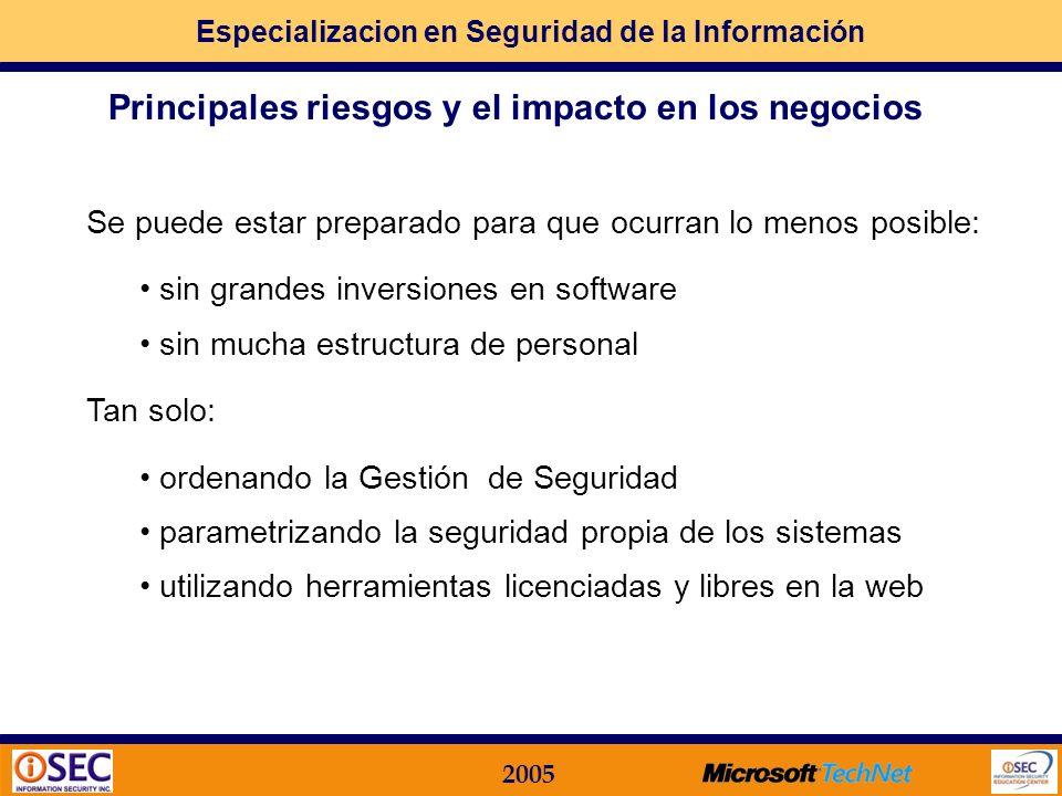 Especializacion en Seguridad de la Información 2005 en formato electrónico / magnético / óptico en formato impreso en el conocimiento de las personas